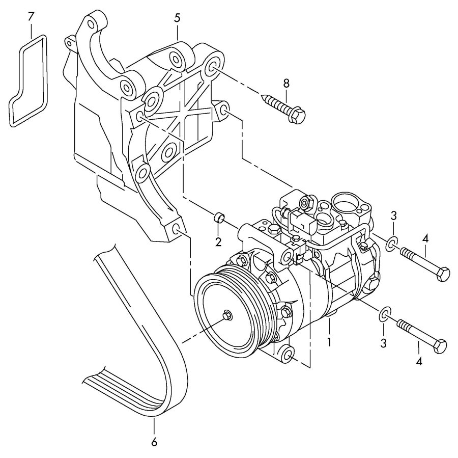 audi air conditioner compressor connecting and mounting