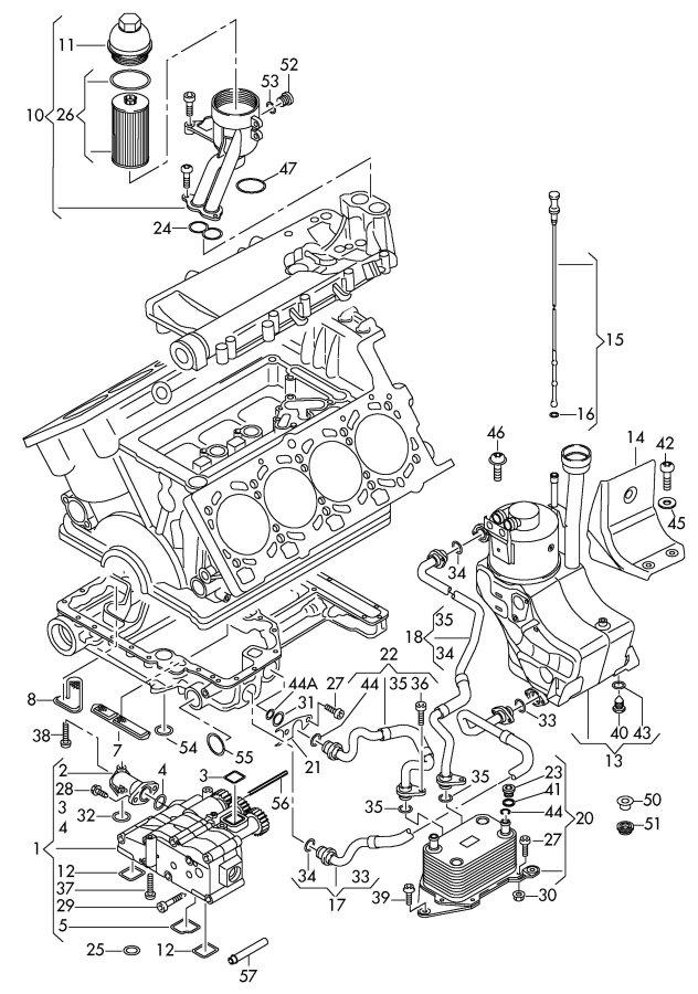 Audi R8 At Oil Pump Oil Filter Oil Filter Adapter Oil
